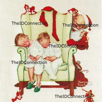 Vintage 1954 Magazine Cover Image Scan, Norman Rockwell, Santa Claus, Christmas Holiday, artwork, Digital Electronic Scan