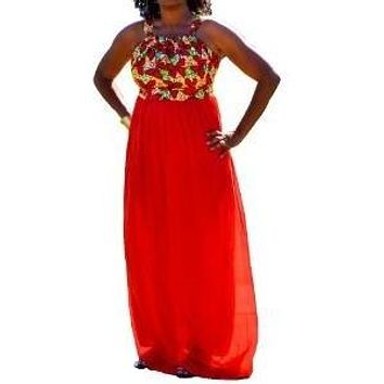 Red Ankara and Chiffon Dress