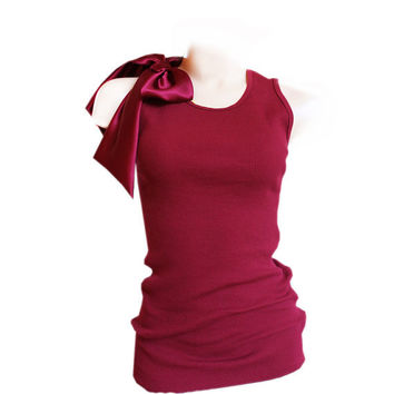 Woman tank red wine top shoulder bow removable tratgirl