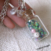Pastel hearts charm glass bottle necklace glass by CosmicSugar