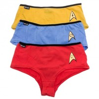 Star Trek Red, Blue & Gold Uniform Bikini Briefs Panties