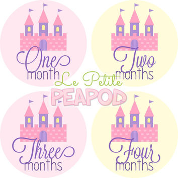 Monthy Baby Shirt Stickers - Pink Yellow and Purple Princess Castle Design - Girl Monthly Baby Stickers
