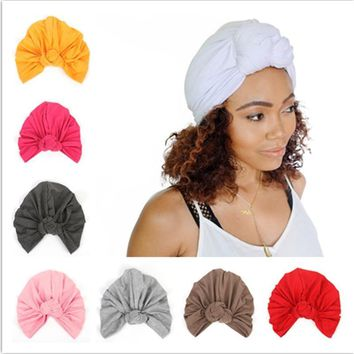 Indian Yoga Turban Headband Knot Hat Head Wrap Bandana Hair Bands Accessories Women Girls Stretchy Cloche Cap Scrunchy Headdress
