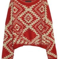 Totem Pattern Loose Red Jumper [NCSWQ0297] - $48.99 :