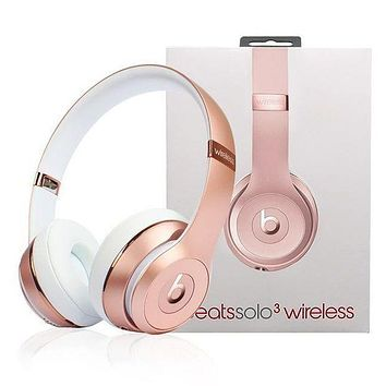 Trending Classic Beats Solo 3 Wireless Magic Sound Bluetooth Wireless Hands Headset MP3 Music Headphone with Microphone Line-in Socket TF Card Slot Rose Gold I