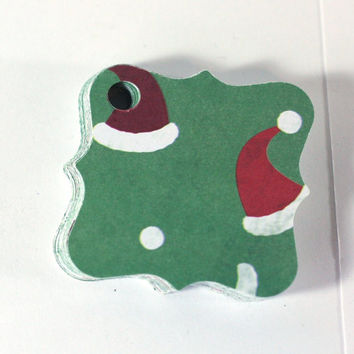 36 Christmas Stocking Hat or Santa Hat Paper Gift Tags on Green Back Ground - 1 3/4 inch fancy square - Handmade by Me - set of 36