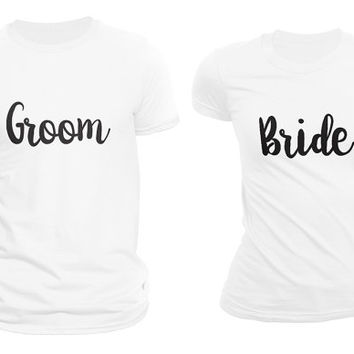 Groom & Bride Matching Couple T-shirts White Set of 2