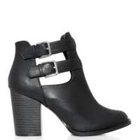 Black Cut Out Block Heel Ankle Boots