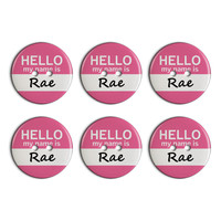 Rae Hello My Name Is Plastic Resin Button Set of 6