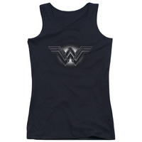 BATMAN V SUPERMAN/GLOW EMBLEM-JUNIORS TANK TOP  -BLACK-SM