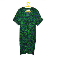 Vintage Green Leopard Romper Animal Print Dress Jessica Howard by Mitchell Rodbell 90s Large L