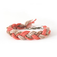 Orange bracelet with rhinestones, friendship bracelet, braid bracelet, orange bracelet from organic cotton
