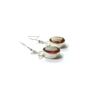 Champagne Quartz  Earrings ,  Sterling Silver Ear Wires , Gift For Her