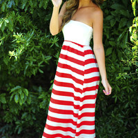 Let's Go Sailing Maxi Dress: Red/White   Hope's