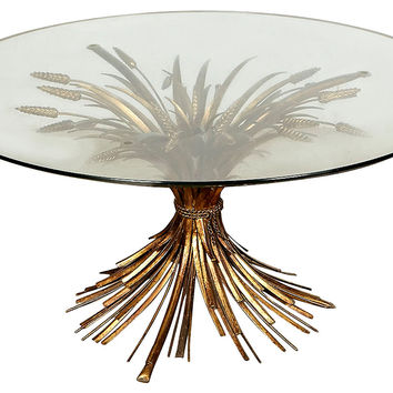 Sheaths of Wheat  Glass-Top Coffee Table