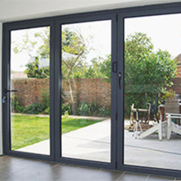 Aluminium grey folding sliding stock bifold door, 10 ft, foot, three pane 2990mm x 2090mm