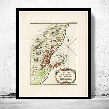 Old Map of Messina 1764 Sicily Italy