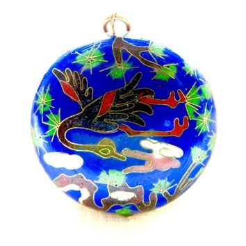Vintage Asian Cloisonne Pendant Geese Swans Alligators Water lillies, Cobalt Enamel Pendant Asian Export Jewelry