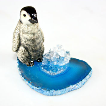 Baby Penguin Sculpture - Miniature Porcelain Collectible Baby Penguin Figurine Arctic Blue Agate Slice Home Decor by Mei Faith