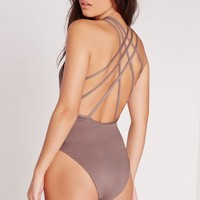 Missguided - Strappy Back Bodysuit Mauve