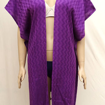 Women's purple colour herringbone patterned Turkish cotton soft and light weight poncho, top cover up, beach poncho.