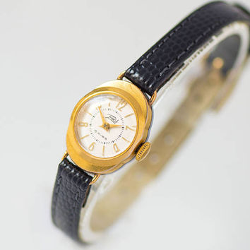 Lady's watch 50s, gold plated woman watch, little tiny girl watch Dawn, unique micro watch her gift, retro watch, new premium leather strap