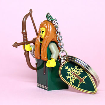 Forest Maiden Keychain - made from Series 9 LEGO (r) Minifigure
