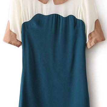 Dark Green Color Block Peter Pan Collar Mini Shift Dress