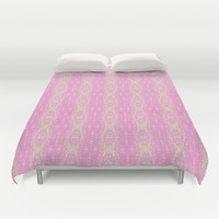 Pretty Pink And Green Abstract  Duvet Cover by KCavender Designs