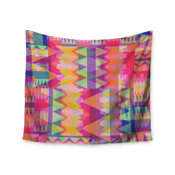 "Miranda Mol ""Triangle Fun"" Pink Multicolor Wall Tapestry"