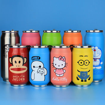 500ML Minions Motion Water Bottles Multi-colored Pattern Hidden Straw Kettle Creative Gifts Cups High Quality Cartoon Products