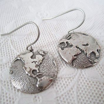 Silver World Earrings Antique Silver Globe Dangle Earrings Travel Vintage Style Jewelry Valentines Day Sale