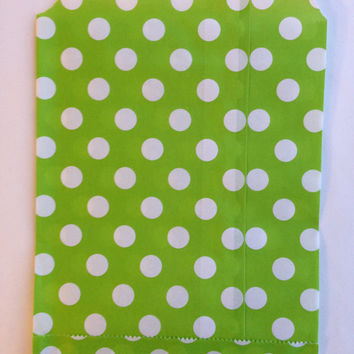 25 Citrus Green Polka Dot favor bags / Treat Bags / Wedding Favor Bags / Birthdays / Party Favor Bags / Polka Dot Treat Bags / Bakery Bags