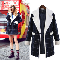 Checked Single-breasted Woolen Coat