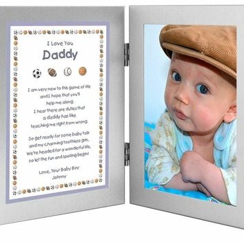 PG New Dad Personalized Birthday Daddy Gift from Son Baby Boy - Double Frame with Poem - Add Photo