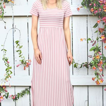 Vertical Stripes Short Sleeve Maxi Dress {Mauve}