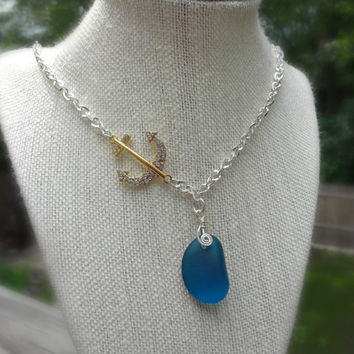 Nautical Anchor Necklace, Caribbean Blue Sea Glass Necklace, Summer Necklace, Coastal Chic Jewelry, Wire Wrap Sea Glass Pendant Necklace