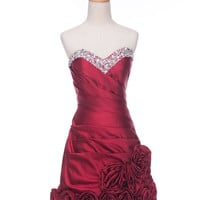 A-line Sweetheart Hand-Made Flower Stain Knee-Length Bridesmaid/Evening/Prom Dress