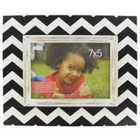 "7"" x 5"" Black & Cream MDF Rustic Chevron Frame 