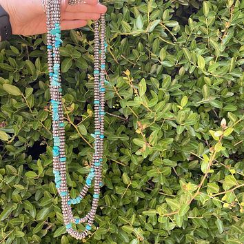 3 Strand Breaded & Turquoise Necklace