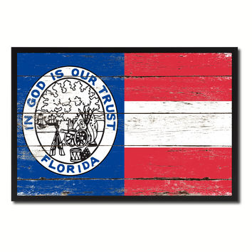 Civil War Florida Military Flag Vintage Canvas Print with Picture Frame Home Decor Man Cave Wall Art Collectible Decoration Artwork Gifts