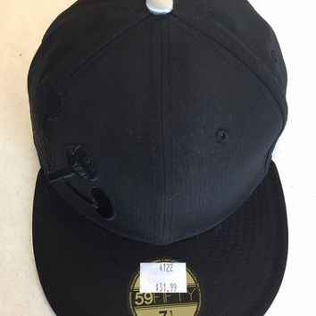 CUSTOM MICKEY MOUSE ALL BLACK RETRO NEW ERA 5950 FLAT BRIM FITTED HAT