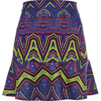 River Island Womens Blue geometric print drop waist skirt