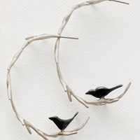 Vine with Black Birds Hoops by Lisa Cimino: Silver Earrings | Artful Home