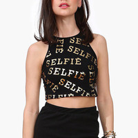 Black Crew Graphic Crop Top