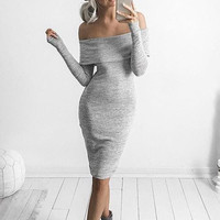 Long Sleeve Elastic Strapless One Piece Dress [9503367876]
