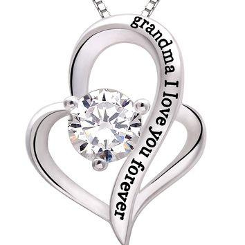 """Jewelry Sterling Silver """"grandma I love you forever"""" Love Heart Cubic Zirconia Pendant Necklace"""