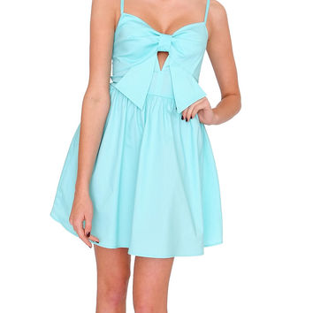 Pretty Bow Dress - Aqua Blue