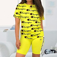 Champion Woman Casual Print Short Sleeve Top Shorts Set Two Piece Sportswear Yellow