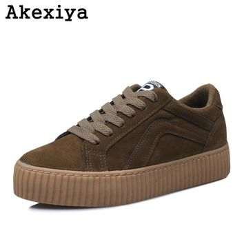 Akexiya 2017 Rihanna Creepers Woman Lace Up Winter New Black Women Casual Shoes Platform Women's Sneakers Plataforma Warm Boot
